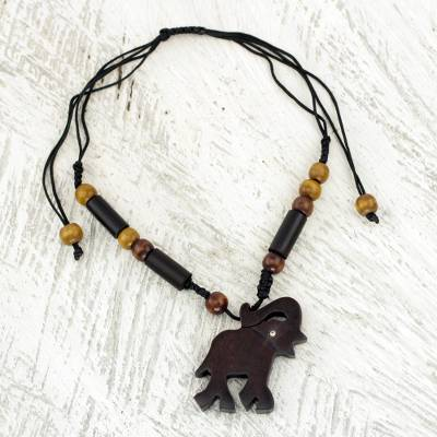 Ebony and bamboo pendant necklace, 'Trumpeting African Elephant' - Handcrafted Ebony and Bamboo Elephant Theme Necklace
