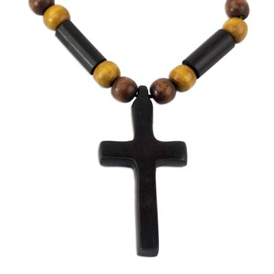 Ebony and bamboo pendant necklace, 'African Cross' - Handcrafted Ebony and Bamboo Cross Necklace from Ghana