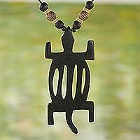 Ebony wood pendant necklace, 'Denkyem Beauty' - Ebony Wood and Bamboo Pendant Necklace form Ghana