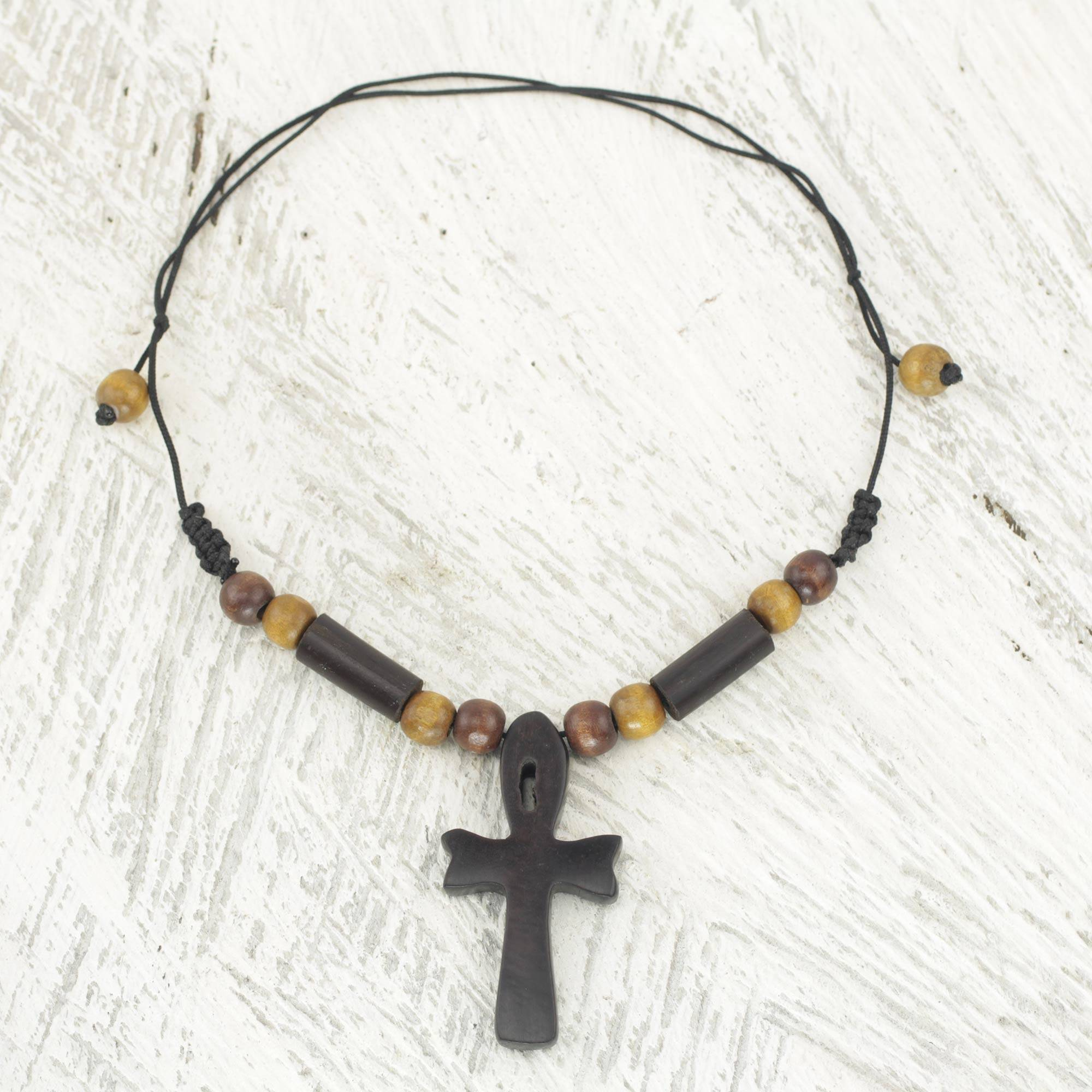 Handcrafted Ankh Necklace In Ebony And Bamboo Ghana African Ankh