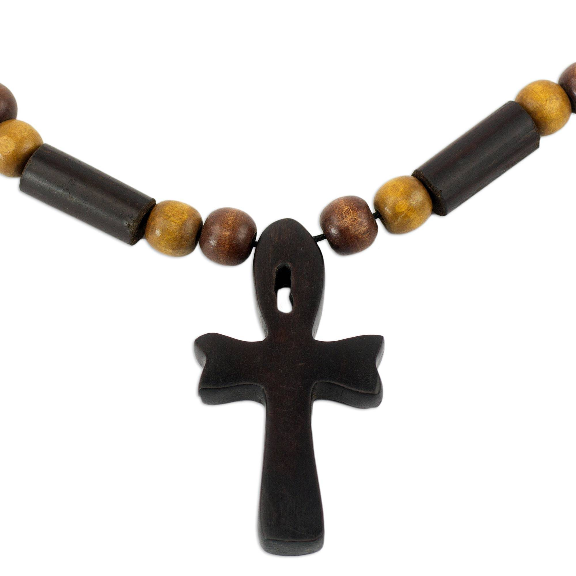 Unicef Market Handcrafted Ankh Necklace In Ebony And Bamboo Ghana
