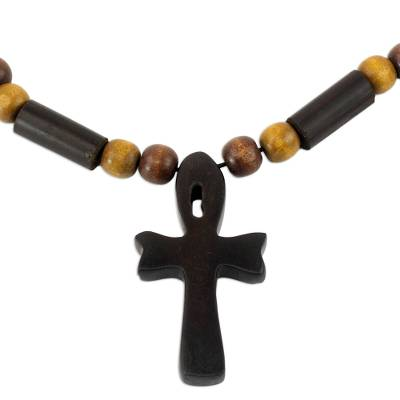 Ebony and bamboo pendant necklace, 'African Ankh' - Handcrafted Ankh Necklace in Ebony and Bamboo Ghana