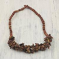 Tiger's eye and bauxite beaded necklace, 'Earth's Victory' - Tiger's Eye and Bauxite Necklace Crafted by Hand