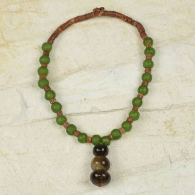 Bull horn and bauxite pendant necklace, 'Progression' - Recycled Glass Bead Necklace with Bull Horn and Bauxite