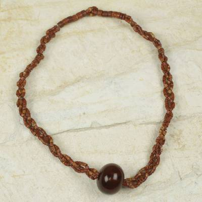 Bauxite and bull horn beaded necklace, 'Natural Kingdom' - Braided Bauxite Handcrafted Necklace with Bull Horn Bead