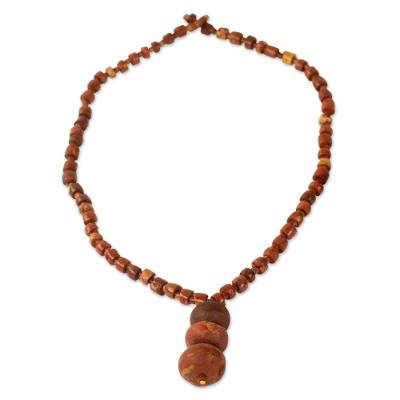 Bauxite pendant necklace, 'Blessings of Ghana' - Handcrafted Bauxite Pendant Necklace from Ghana