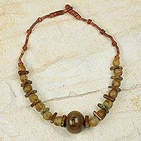 Bauxite and bull horn beaded necklace, 'Sing and Praise' - Recycled Glass Beads with African Bull Horn Bauxite and Soap