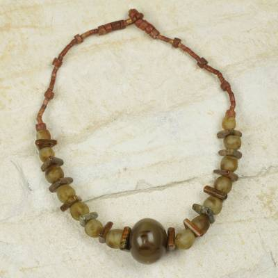 Bauxite and bull horn beaded necklace, 'Sing and Praise' - Ghanaian Recycled Glass Necklace with Bull Horn and Bauxite
