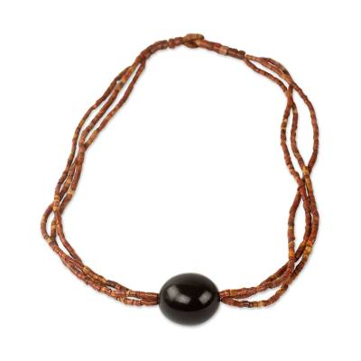 Bauxite and bull horn beaded necklace, 'Best Friends' - Handcrafted Bauxite Necklace with Bull Horn Bead