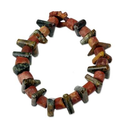 Beaded bracelet, 'Royal Legacy' - Handcrafted Bauxite and Soapstone Bead Bracelet from Ghana
