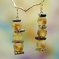 Soapstone and glass dangle earrings, 'Akan Tradition'
