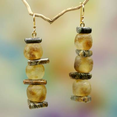 Soapstone and glass dangle earrings, 'Akan Tradition' - Ghana Eco-Friendly Recycled Glass and Soapstone Earrings