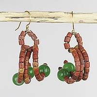 Cat's eye and bauxite dangle earrings, 'Akan Faith' - Handcrafted Bauxite and Green Cat's Eye Dangle Earrings