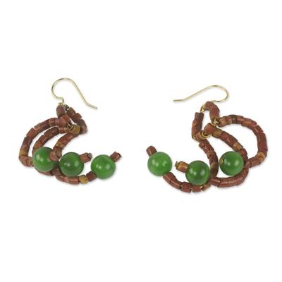 Cat's eye and bauxite dangle earrings, 'Akan Faith' - Handcrafted Bauxite and Green Cat's Eye Dangle Earrings