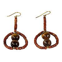Tiger's eye and bauxite dangle earrings, 'Peaceful Queen' - Ghana Artisan Crafted Tiger's Eye and Bauxite Earrings