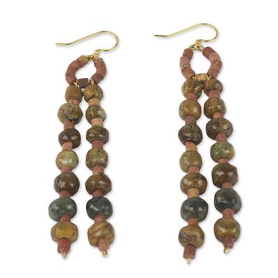 Soapstone beaded earrings, 'Successful Harmony' - African Beaded Jewelry Handmade Soapstone Bauxite Earrings