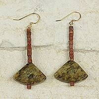 Soapstone and bauxite dangle earrings, 'Bells of Ghana' - Ghana Handcrafted Soapstone and Bauxite Dangle Earrings