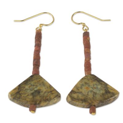 Soapstone and bauxite dangle earrings, 'Bells of Ghana' - Ghana Handcrafted Soapstone and Bauxite Dangle Earrings