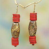 Soapstone dangle earrings, 'Earth Vibes' - Eco-Friendly Soapstone Earrings with Recycled Plastic