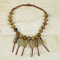 Bauxite and bull horn waterfall necklace, 'Gentle Waterfall' - Original Fair Trade Bull Horn Necklace with Bauxite