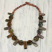 Soapstone and bauxite beaded necklace, 'Nkyia'