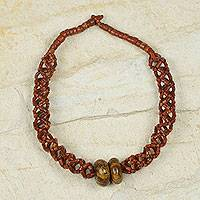 Bauxite and soapstone beaded necklace, 'Bonwire Lattice'