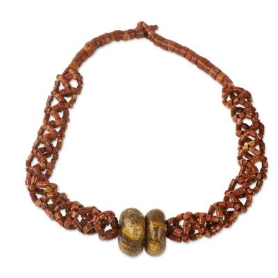 Bauxite and soapstone beaded necklace, 'Bonwire Lattice' - Braided Bauxite Handcrafted Necklace with Soapstone Beads