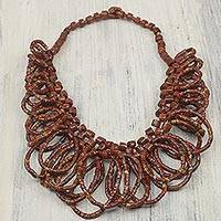 Bauxite beaded necklace, 'Good Turn'