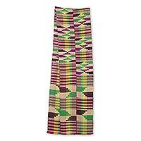 Cotton blend kente cloth scarf, 'Edwene Asa' (9 inch width) - Multicolored Cotton Blend 9 Inch Width Kente Cloth Scarf