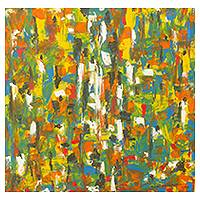 'African Market' - Abstract Multi-Color Original African Market Painting
