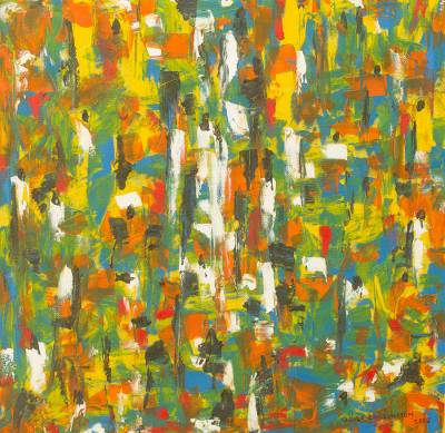 Abstract Multi-Color Original African Market Painting
