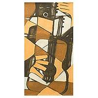 'Strings and Harmonies' - Ghana Modern Music Theme Cubist Painting