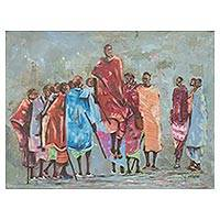 'Adumu Dance' - Signed Original Painting of Maasai Warriors