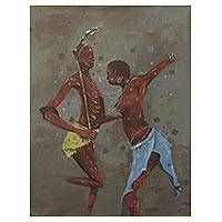 'Dinka Dance' - Original Artist Painting of Sudanese Dinka Dancers