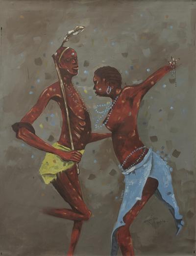 'Dinka Dance' - Original Artist Painting of Sudanese Dinka Dancers