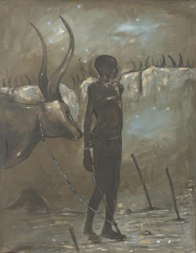 'Dinka Man' - Original Artist Painting of a Sudanese Dinka Cattleman