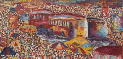 'Road Sharing' - Colorful Ghanaian City Scene Original Painting