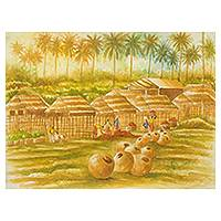 'Cape Coast Village' - Original African Village Scene Watercolor Painting