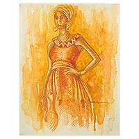'Elegance' - Original Watercolor Portrait of a Ghanaian Woman