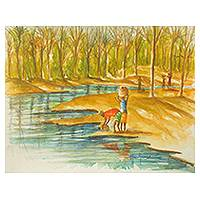 'Fetching Water from the Stream' - Ghanaian Riverside Original Signed watercolour Painting