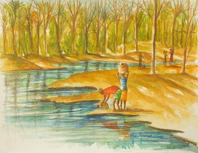 'Fetching Water from the Stream' - Ghanaian Riverside Original Signed Watercolor Painting