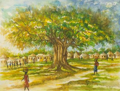 'From the Farm' - Ghana Signed Original watercolour Painting