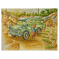 'Good Friend' - Signed Watercolor Market Truck Painting from West Africa