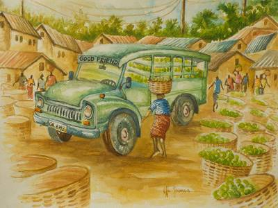 'Good Friend' - Signed watercolour Market Truck Painting from West Africa