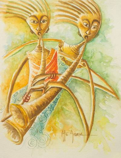 'Horn Blowers' - Signed Watercolor Musician Painting from West Africa