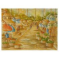 'Market Town' - Original Signed Watercolor Painting of an African Town