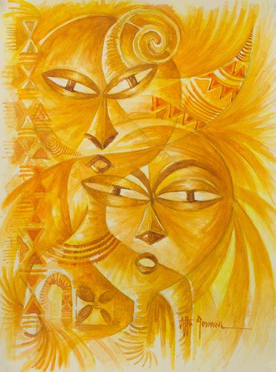 'Mask and Designs' - Original Signed African Mask Watercolor Painting