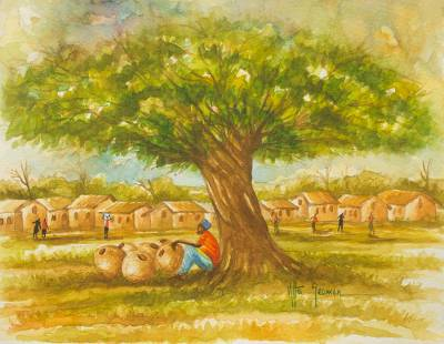 'Navrongo Village' - Original Signed Watercolor Painting of an African Village