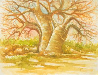 'The Baobab Tree I' - Original Signed watercolour African Landscape Painting