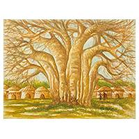 'The Baobab Tree II' - African Village and Baobab Tree Signed Original Painting